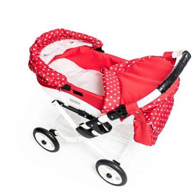 Dětský kočárek pro panenky JASMINE Kids K12 červený puntík det.2