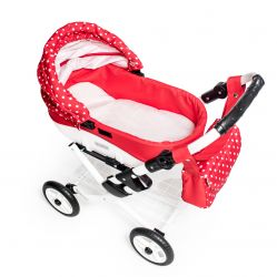 Dětský kočárek pro panenky JASMINE Kids K12 červený puntík det.3