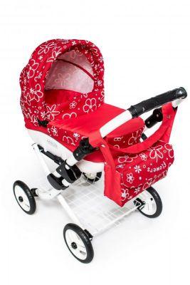 Dětský kočárek pro panenky JASMINE Kids K17 červené květy det.