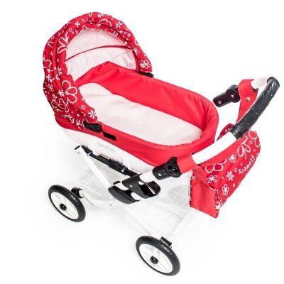 Dětský kočárek pro panenky JASMINE Kids K17 červené květy det.3