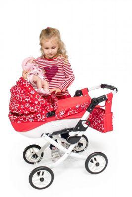 Dětský kočárek pro panenky Jasmine Kids 17 červené květy