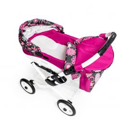 Dětský kočárek pro panenky JASMINE Kids K19 růžové květy det.2