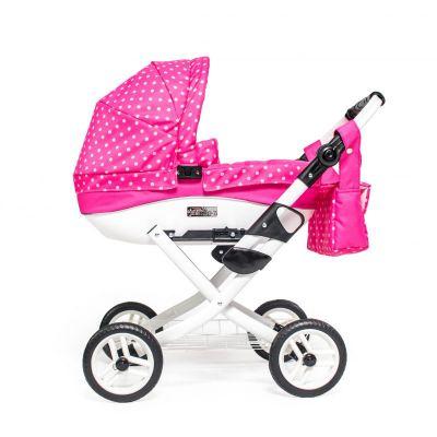 Kočárek pro panenky Jasmine Kids růžový puntík