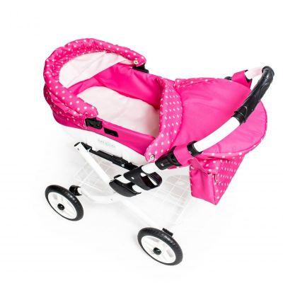 Dětský kočárek pro panenky JASMINE Kids K9 růžový puntík det.3