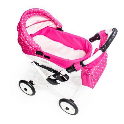 Dětský kočárek pro panenky JASMINE Kids K9 růžový puntík det.4