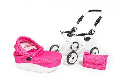 Dětský kočárek pro panenky JASMINE Kids K9 růžový puntík set