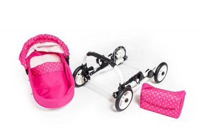 Dětský kočárek pro panenky JASMINE Kids K9 růžový puntík set det.