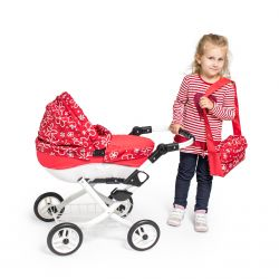 kočárky JASMINE 2019 Dětský kočárek pro panenky JASMINE Kids K9 růžový puntík kočárky JASMINE design, styl a elegance bez hranic